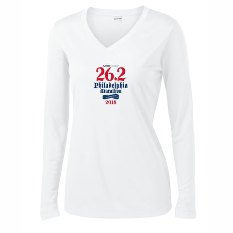 AACR Philadelphia Marathon 'Directions 26.2' Women's LS Tech V-Neck Tee - White