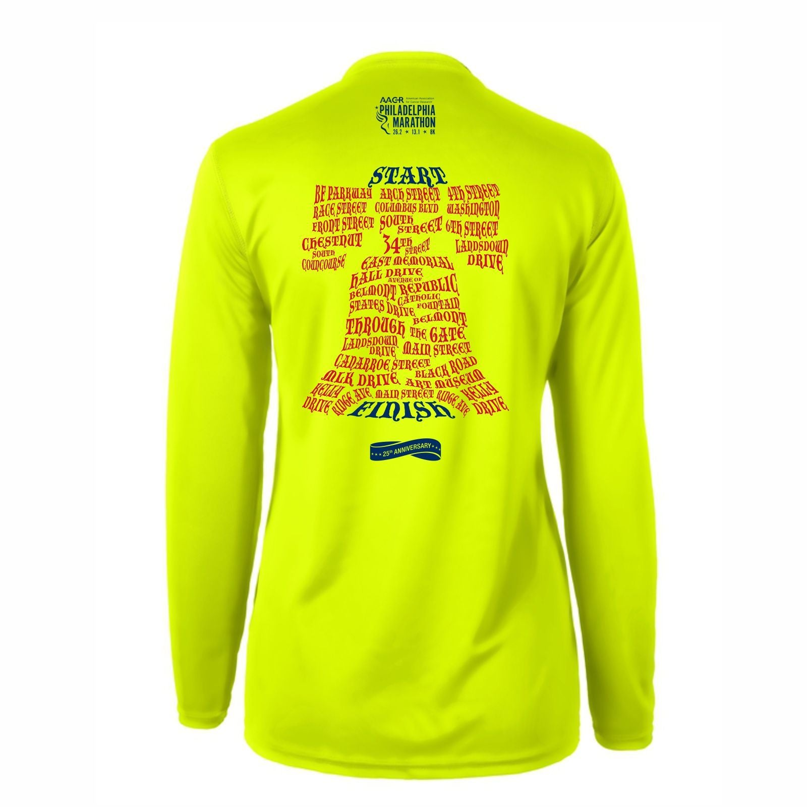 AACR Philadelphia Marathon 'Directions 26.2' Women's LS Tech Tee - Nightlife
