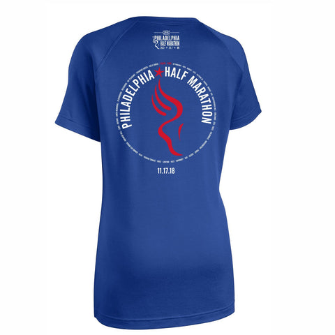 Dietz & Watson Philadelphia Half Marathon 'Directions 13.1' Women's SS Tech V-Neck Tee - True Royal