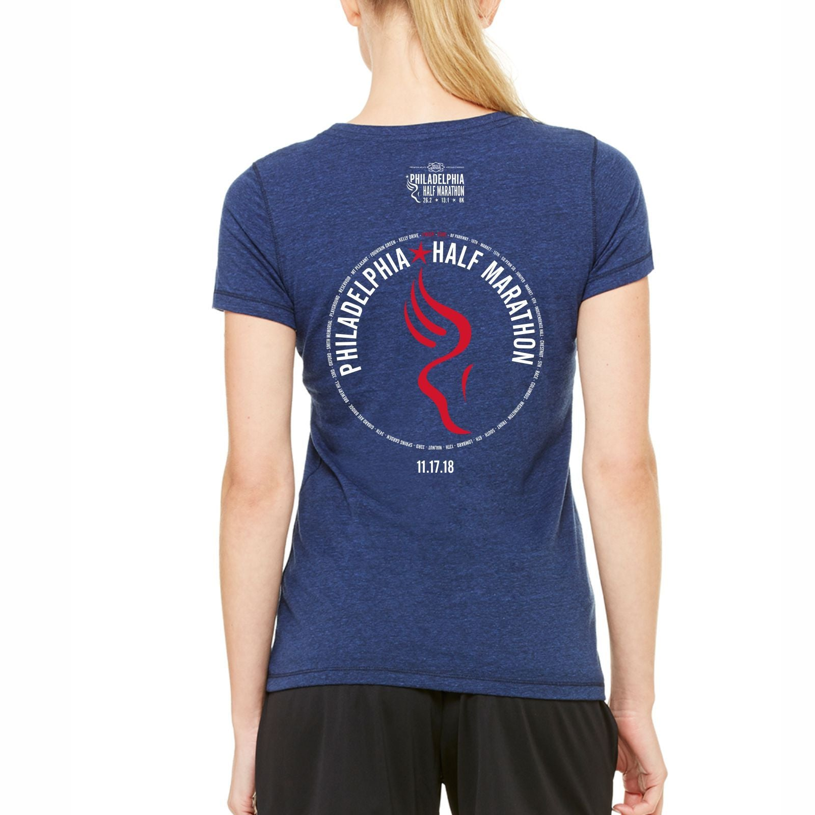 Dietz & Watson Philadelphia Half Marathon 'Directions 13.1' Women's SS Tri-Blend Tee - Navy Heather Triblend