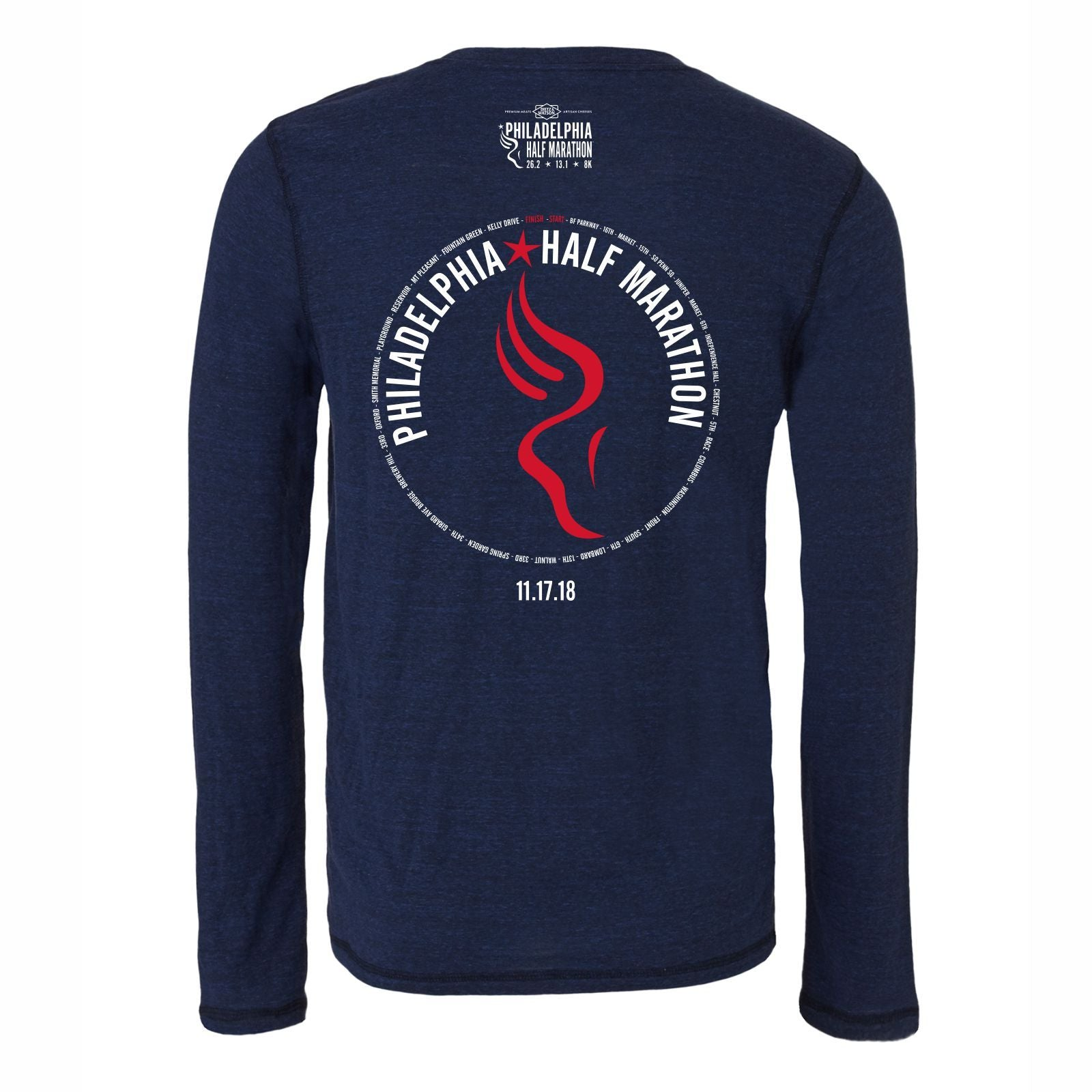 Dietz & Watson Philadelphia Half Marathon 'Directions 13.1' Men's LS Tri-Blend Tee - Navy Heather Triblend