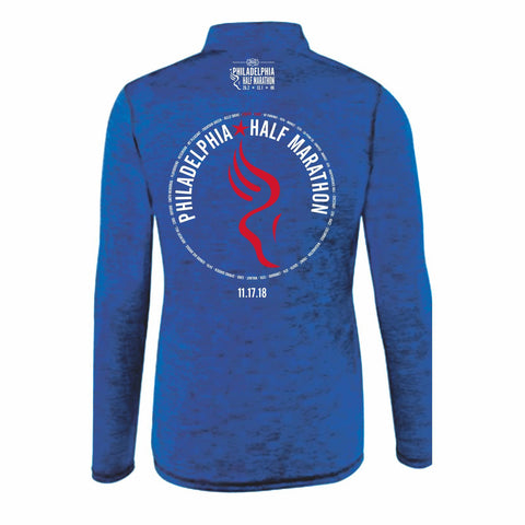 Dietz & Watson Philadelphia Half Marathon 'Directions 13.1' Men's Tech Heathered 1/4 Zip Pullover - Royal