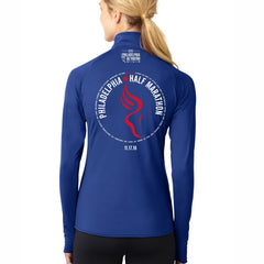 Dietz & Watson Philadelphia Half Marathon 'Directions 13.1' Women's Tech Thumbhole 1/2 Zip Pullover - True Royal