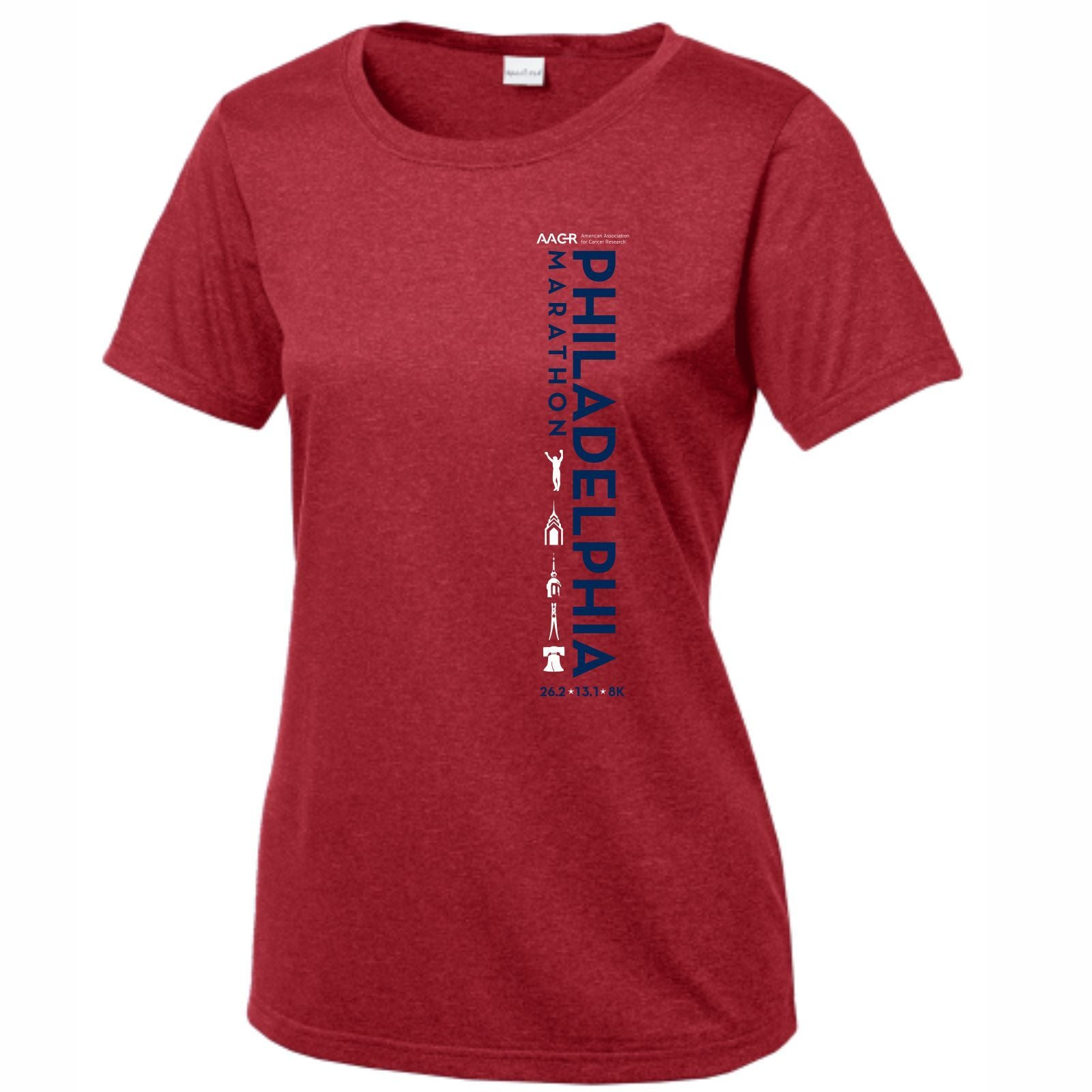 AACR Philadelphia Marathon 'Left Chest Print Vertical' Women's SS Tech Scoop Neck Tee - Scarlet Heather