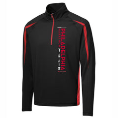 AACR Philadelphia Marathon 'Left Chest Print Vertical' Men's Colorblock 1/2 Zip Pullover - Black/Red