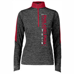 AACR Philadelphia Marathon 'Left Chest Print Vertical' Women's Tech 'Electrify' 1/2 Zip Pullover - Black Heather / Scarlet