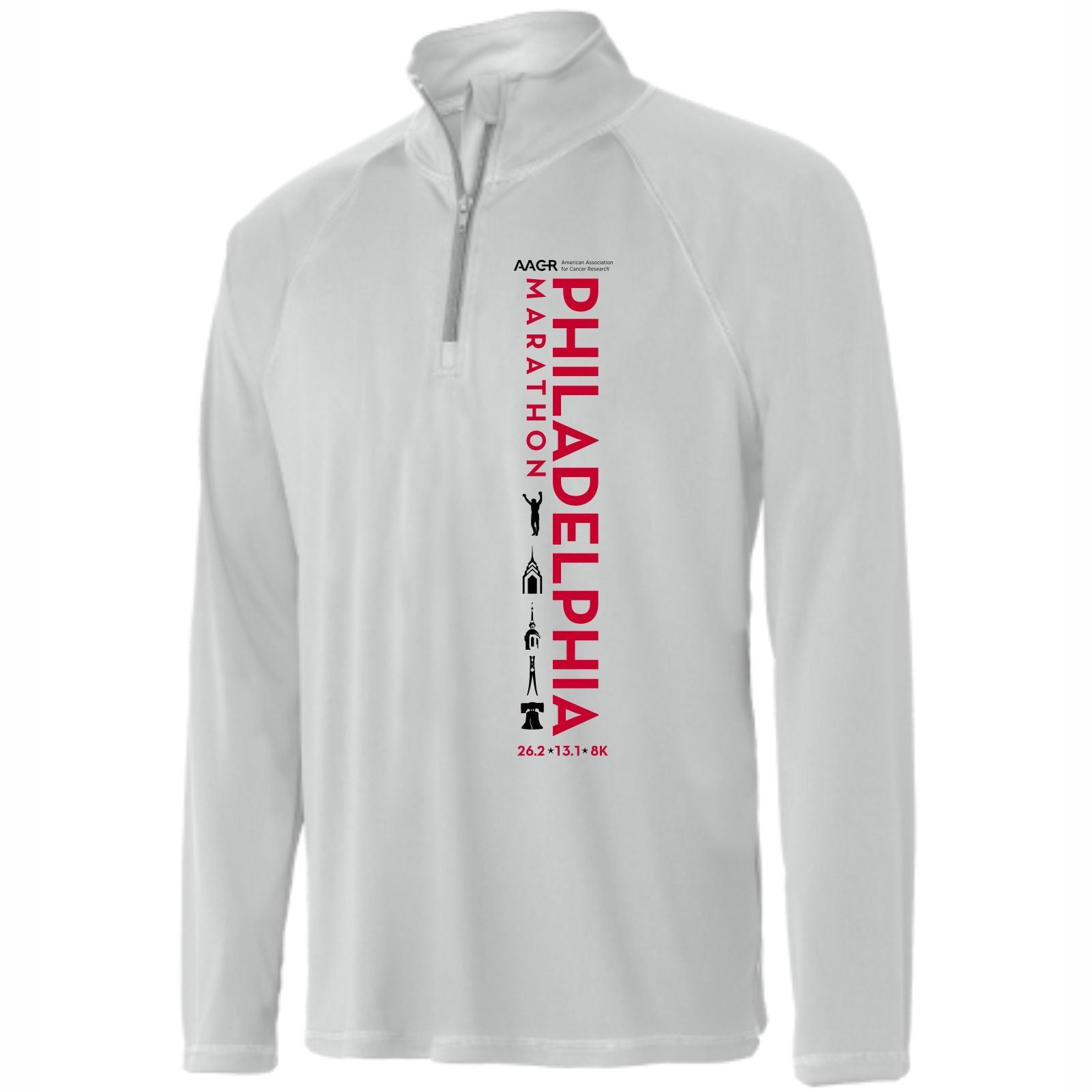 AACR Philadelphia Marathon 'Left Chest Print Vertical' Men's Tech Lightweight 1/4 Zip Pullover - Sport Silver