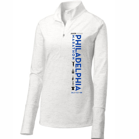 AACR Philadelphia Marathon 'Left Chest Print Vertical' Women's Tech Thumbhole 1/2 Zip Pullover - White