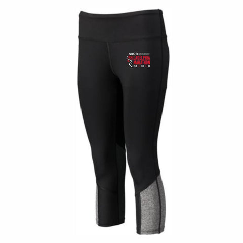 Women's Capri Leggings -Black / Black Heather 'AACR Logo Design' - AACR Philadelphia Marathon