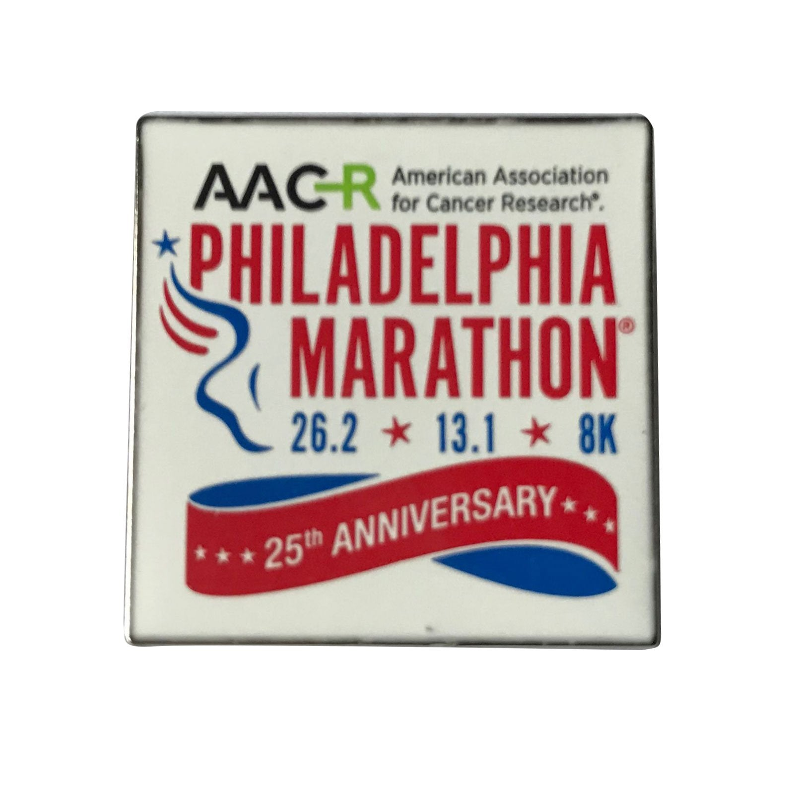 AACR Philadelphia Marathon '25th Anniversary' Hard Enamel Pin - White
