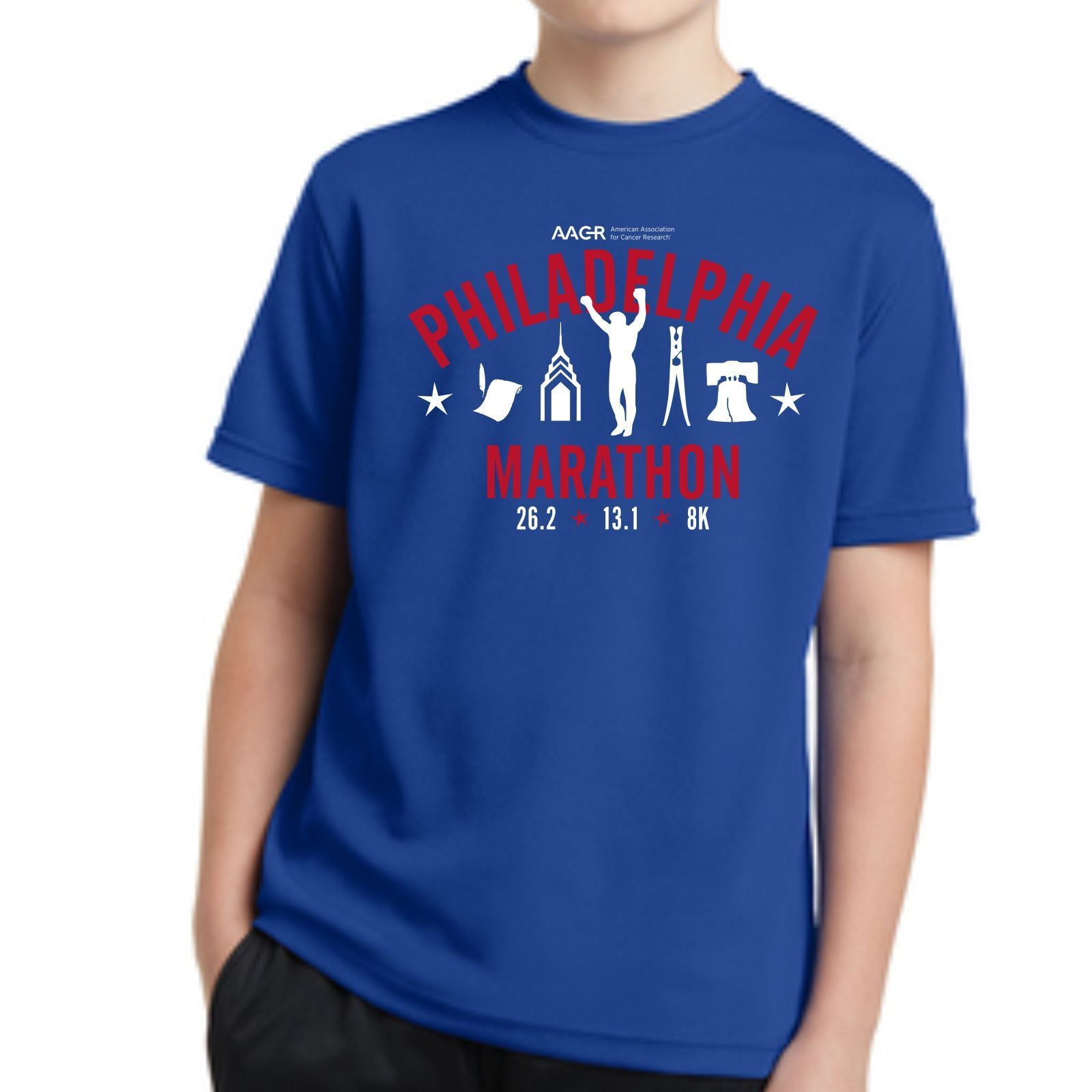 AACR Philadelphia Marathon Youth SS Tech Tee - True Royal