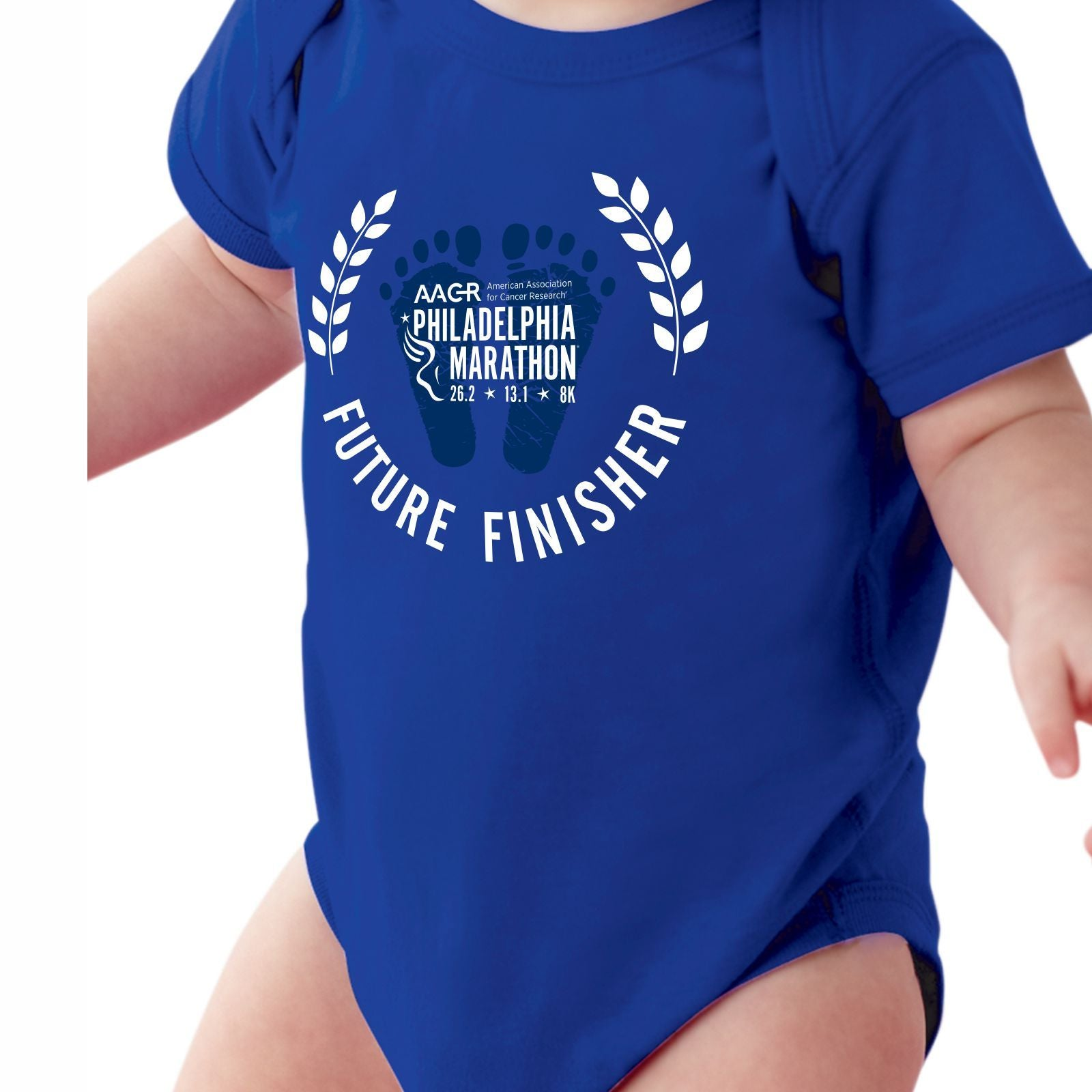 AACR Philadelphia Marathon 'Future Finisher' Infant SS Cotton Onesie - Vintage Royal