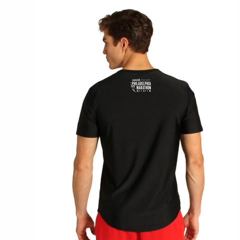 Men's SS 4-Way Stretch Tee -Black 'Big Star Design' - AACR Philadelphia Marathon
