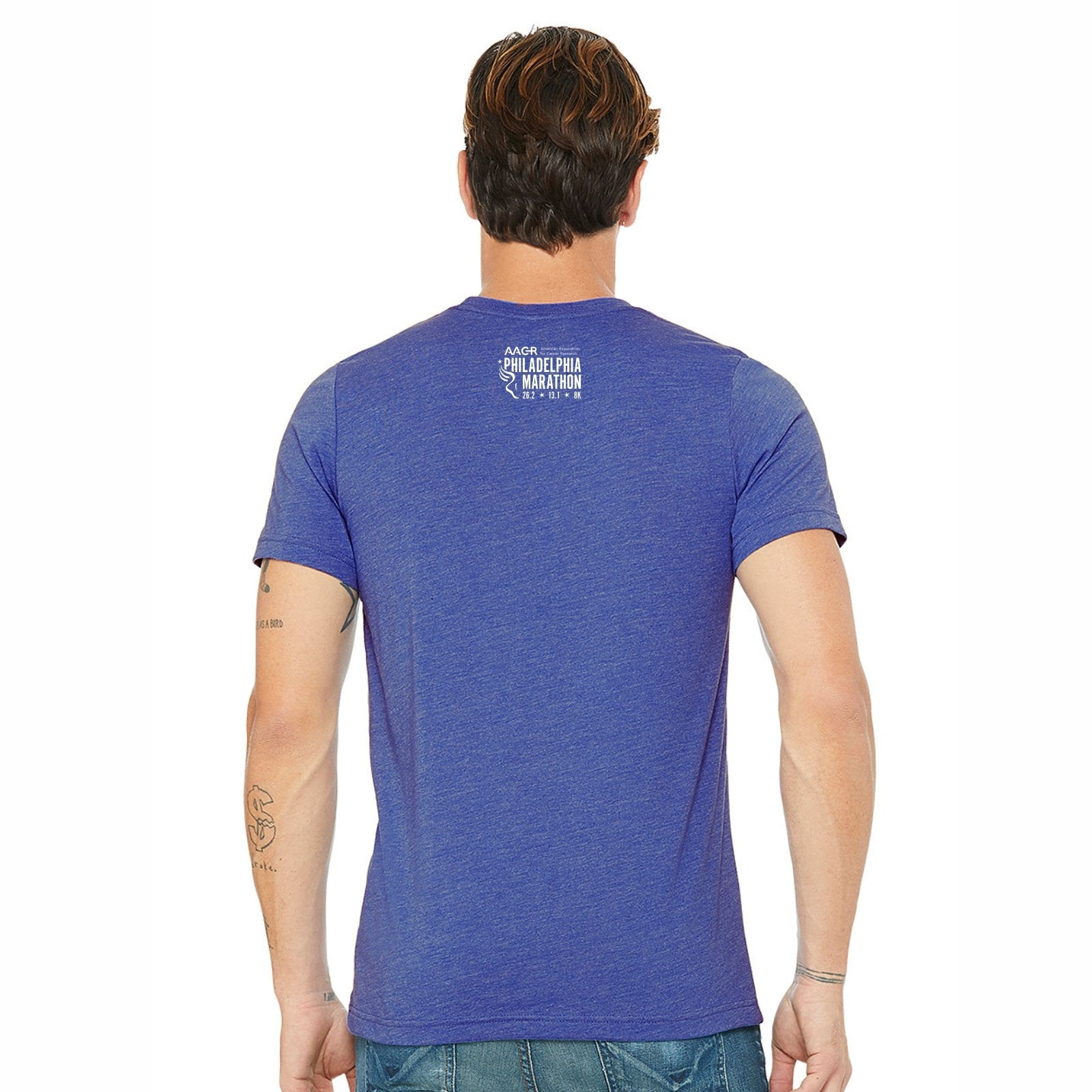 Men's SS CVC Tee -Heather True Royal 'Big Star Design' - AACR Philadelphia Marathon