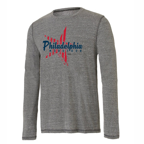Men's LS Triblend Tee -Grey Heather Triblend 'Big Star Design' - Dietz & Watson Philadelphia Half Marathon