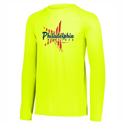 Men's LS Tech Tee -Safety Yellow 'Big Star Design' - AACR Philadelphia Marathon