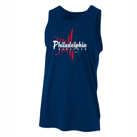 Men's UPF44 Tech Singlet -Navy 'Big Star Design' - AACR Philadelphia Marathon