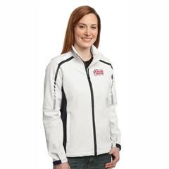 Women's Soft Shell Zip Jacket -Sea Salt White / Deep Grey 'Big Back Design' - AACR Philadelphia Marathon