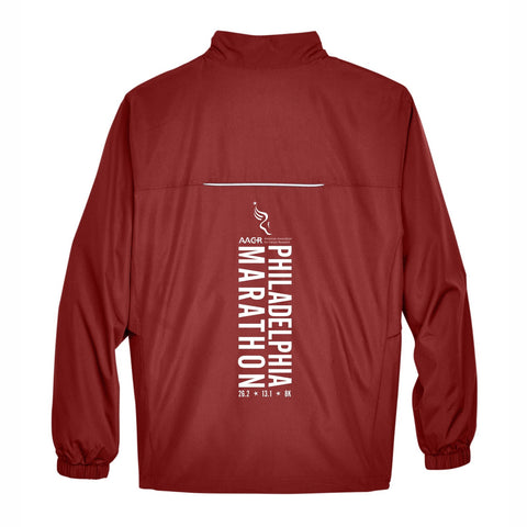 Men's Runner's Tech Zip Jacket -Classic Red 'Big Back Design' - AACR Philadelphia Marathon
