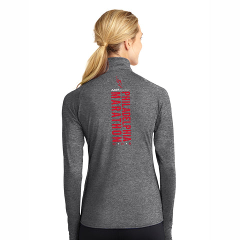 Women's Arabesque Tech Zip Jacket -Graphite Heather 'Big Back Design' - AACR Philadelphia Marathon