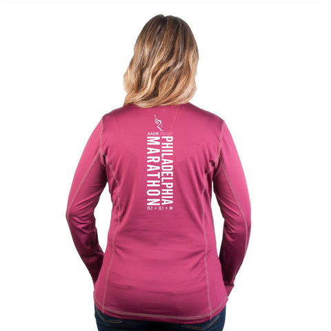 Women's Smart Stretch 1/4 Zip -Cranberry 'Big Back Design' - AACR Philadelphia Marathon