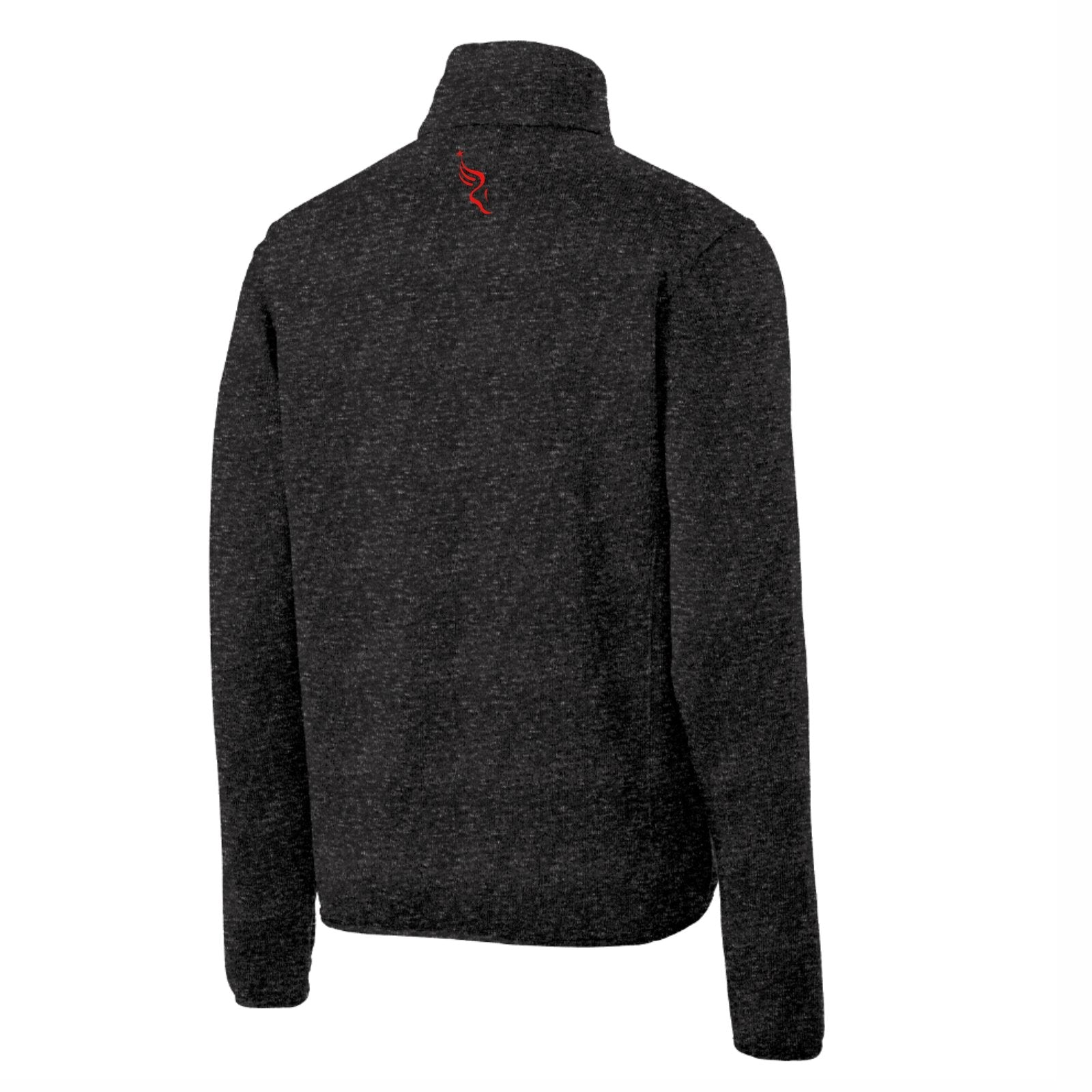 Men's Fleece Zip Sweater Jacket -Black Heather 'Left Chest Embr. Design' - AACR Philadelphia Marathon