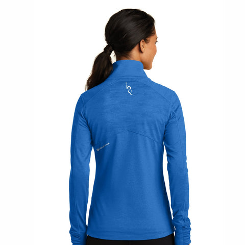 Women's Stretch Zip Jacket -Electric Blue Heather 'Left Chest Embr. Design' - AACR Philadelphia Marathon