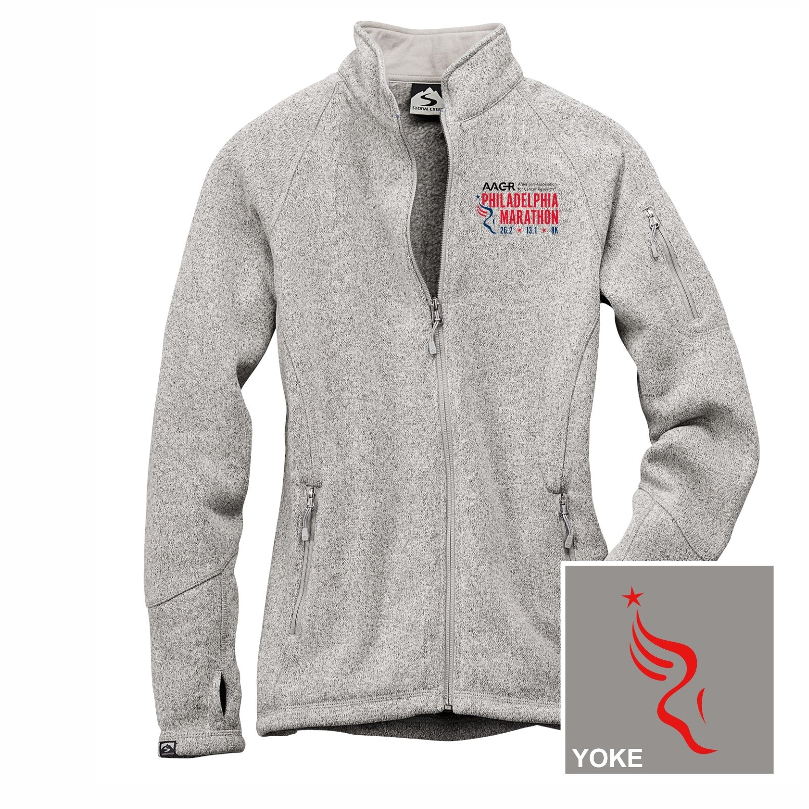 Women's Sweaterfleece Zip Jacket -Platinum 'Left Chest Embr. Design' - AACR Philadelphia Marathon