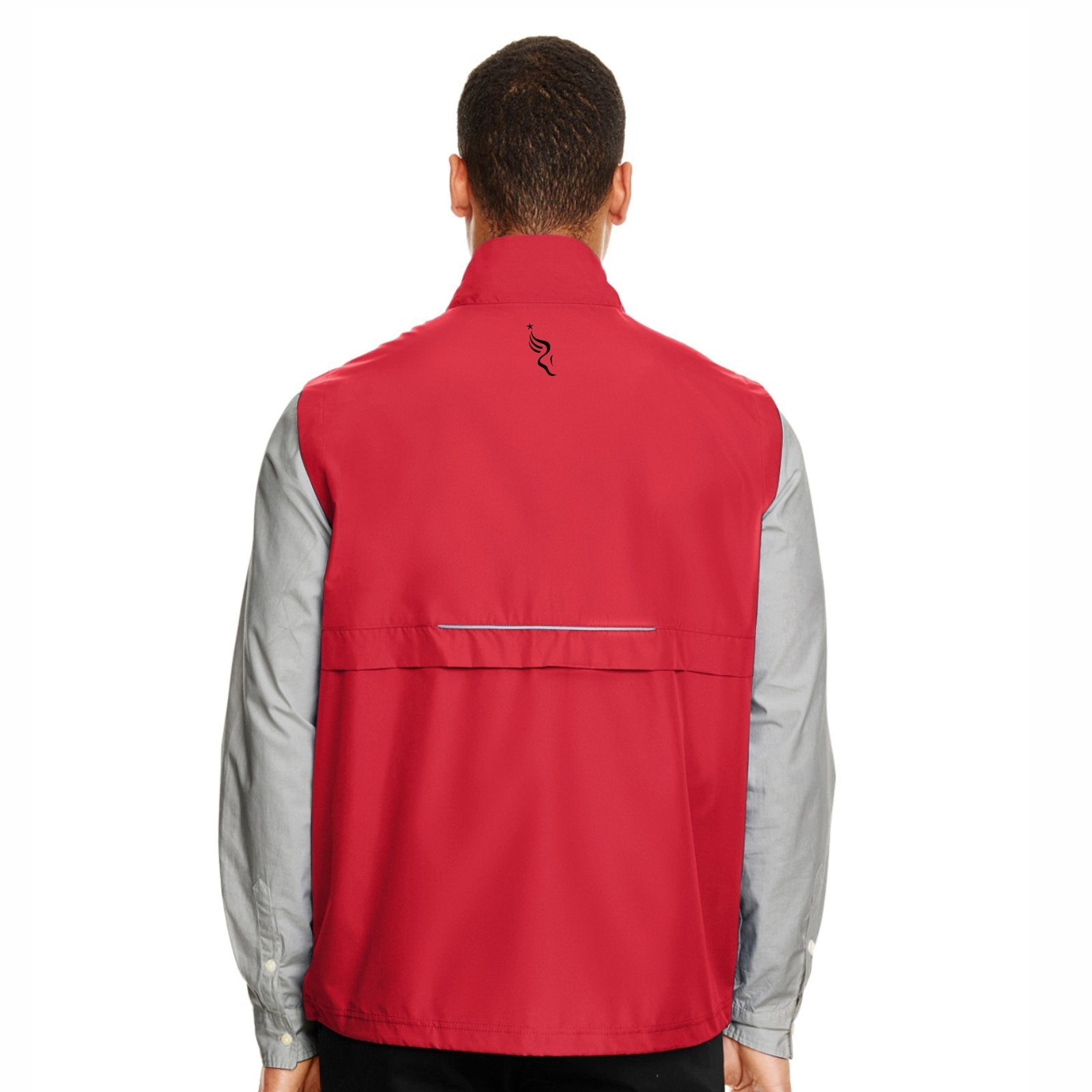 Men's Water-Resistant Tech Zip Vest -Classic Red 'Left Chest Embr. Design' - AACR Philadelphia Marathon