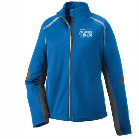 Women's 'Dynamo' Bonded Zip Jacket -Olympic Blue 'Left Chest Embr. Design' - AACR Philadelphia Marathon