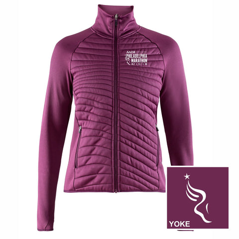 Women's Training Quilted Zip Jacket -Tune (Eggplant) 'Left Chest Embr. Design' - AACR Philadelphia Marathon