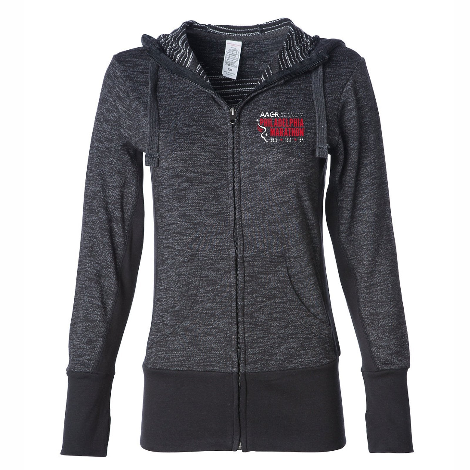 Women's Stripe French Terry Zip Hoody -Baja Black 'Left Chest Embr. Design' - AACR Philadelphia Marathon