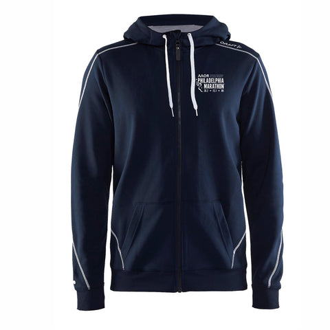 Men's CRAFT Tech Zip Hoody -Dark Navy 'Left Chest Embr. Design' - AACR Philadelphia Marathon