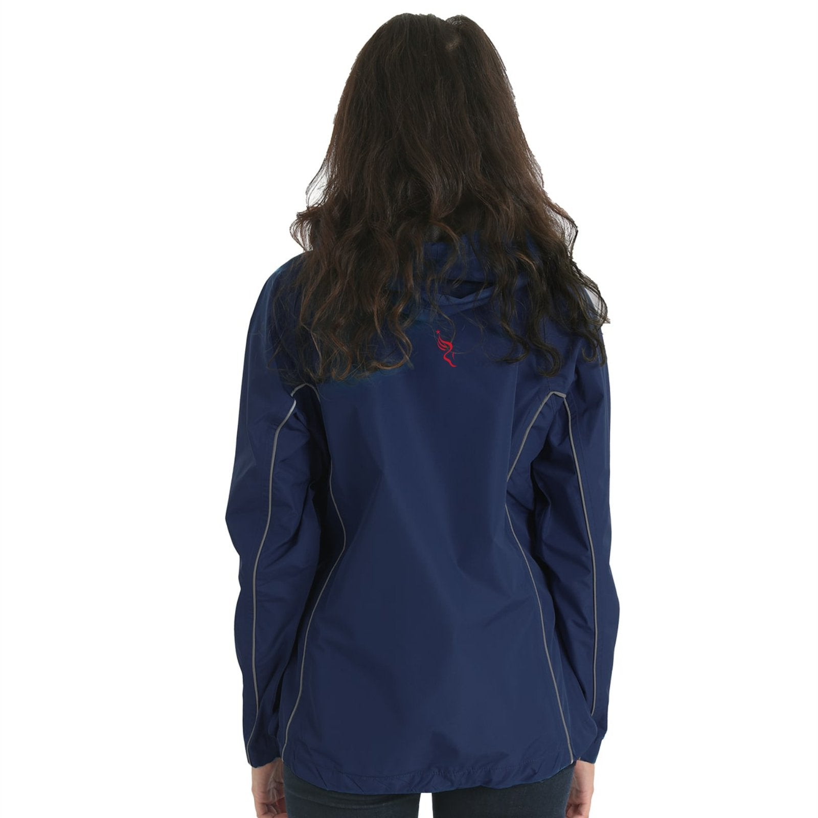 Women's Hooded Breathable Waterproof Full Zip Jacket -Navy 'Left Chest Embr. Design' - AACR Philadelphia Marathon
