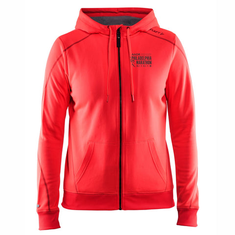 Women's CRAFT Tech Zip Hoody -Crush (Pink) 'Left Chest Embr. Design' - AACR Philadelphia Marathon