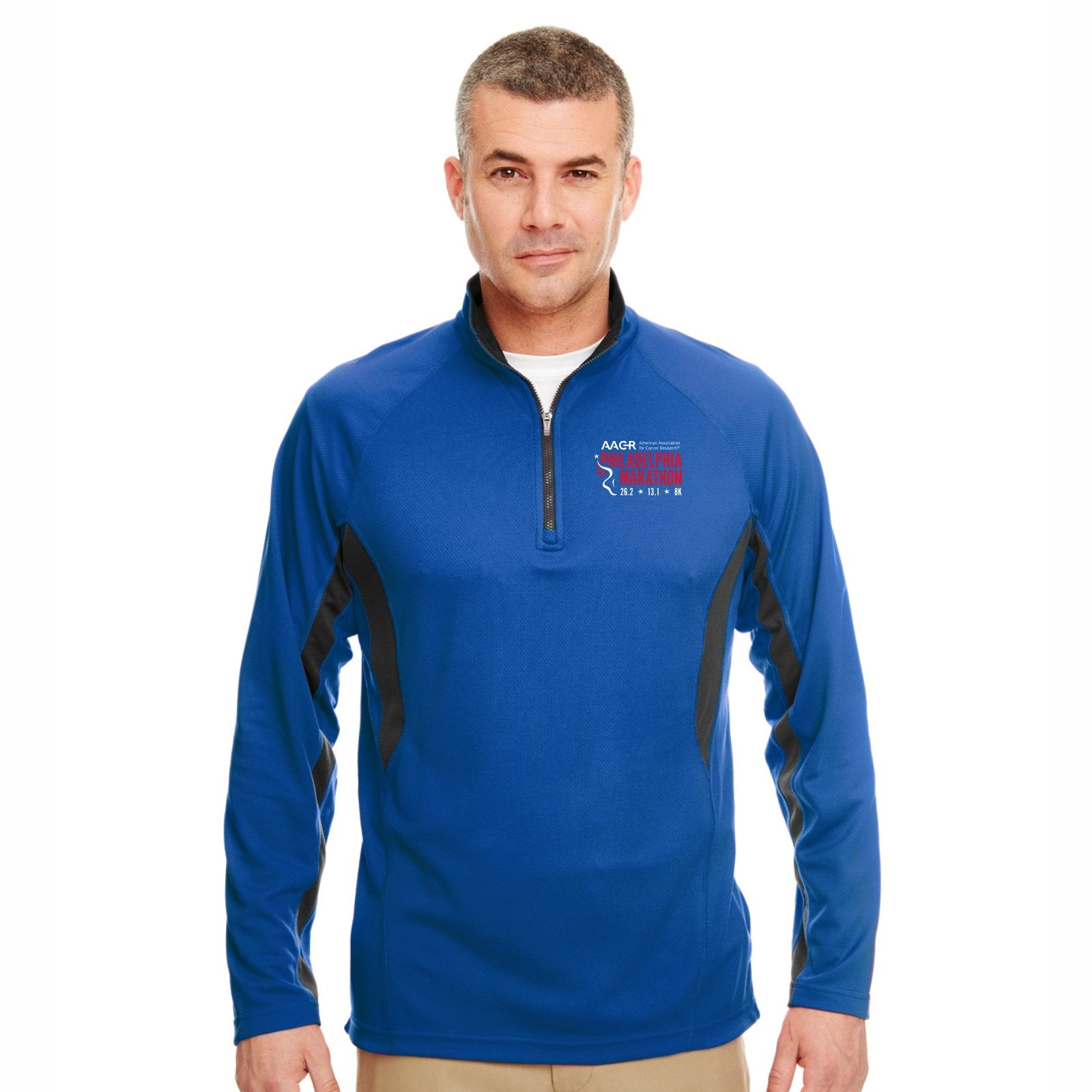 Men's Tech 1/4 Zip -Surf / Flint 'Left Chest Embr. Design' - AACR Philadelphia Marathon