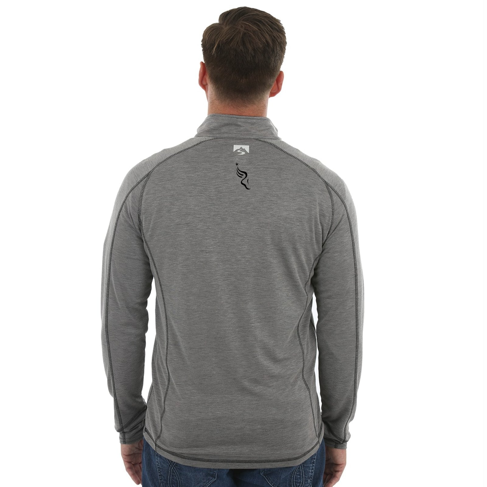 Men's Bamboo 1/4 Zip -Coal 'Left Chest Embr. Design' - AACR Philadelphia Marathon