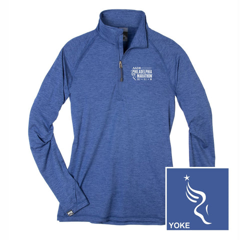 Women's Moss Jersey 1/4 Zip -Indigo 'Left Chest Embr. Design' - AACR Philadelphia Marathon
