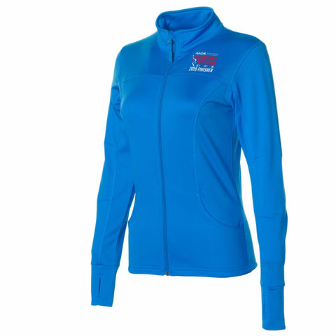 Women's Ltwt Tech Fleece Zip Jacket -Aster Blue 'Finisher 2019 Embr. Design' - AACR Philadelphia Marathon