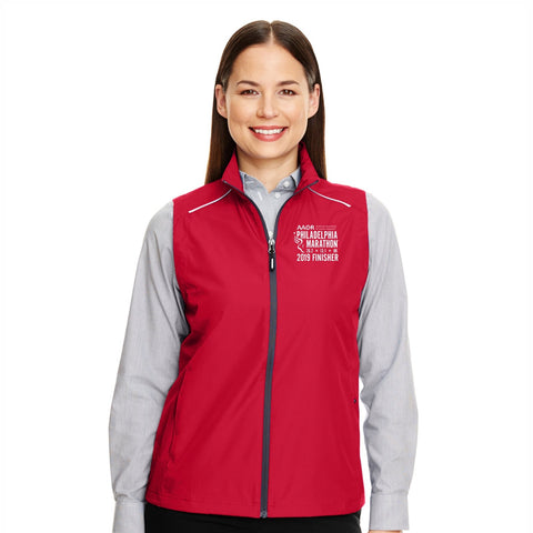 Women's Water-Resistant Tech Zip Vest -Classic Red 'Finisher 2019 Embr. Design' - AACR Philadelphia Marathon