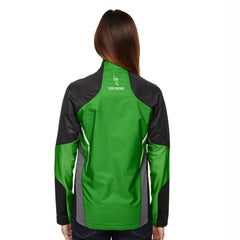 Women's 'Dynamo' Bonded Zip Jacket -Black / Acid Green 'Finisher 2019 Embr. Design' - AACR Philadelphia Marathon