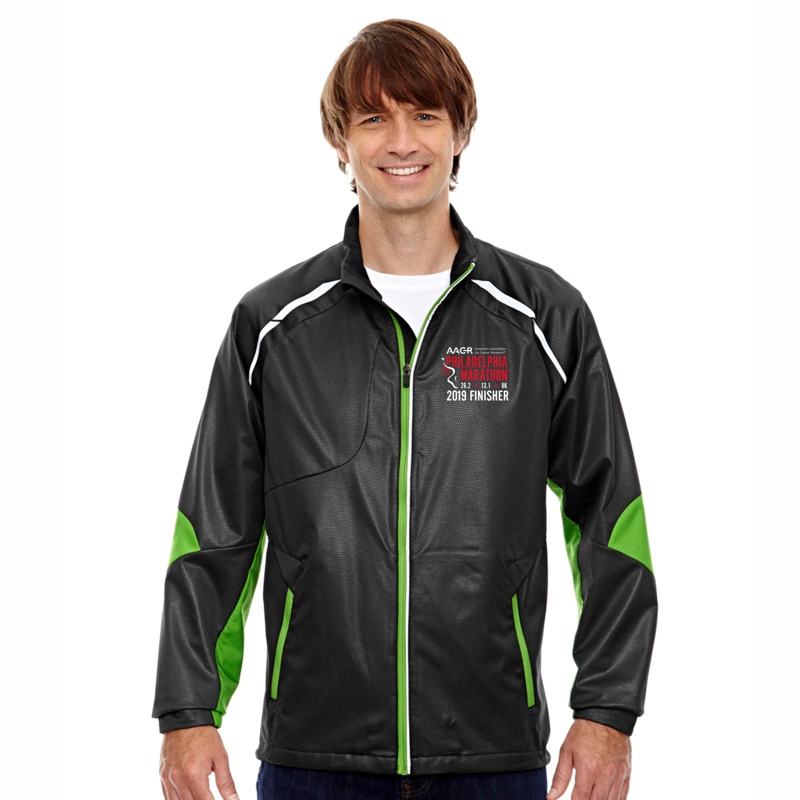 Men's 'Dynamo' Bonded Zip Jacket -Black / Acid Green 'Finisher 2019 Embr. Design' - AACR Philadelphia Marathon