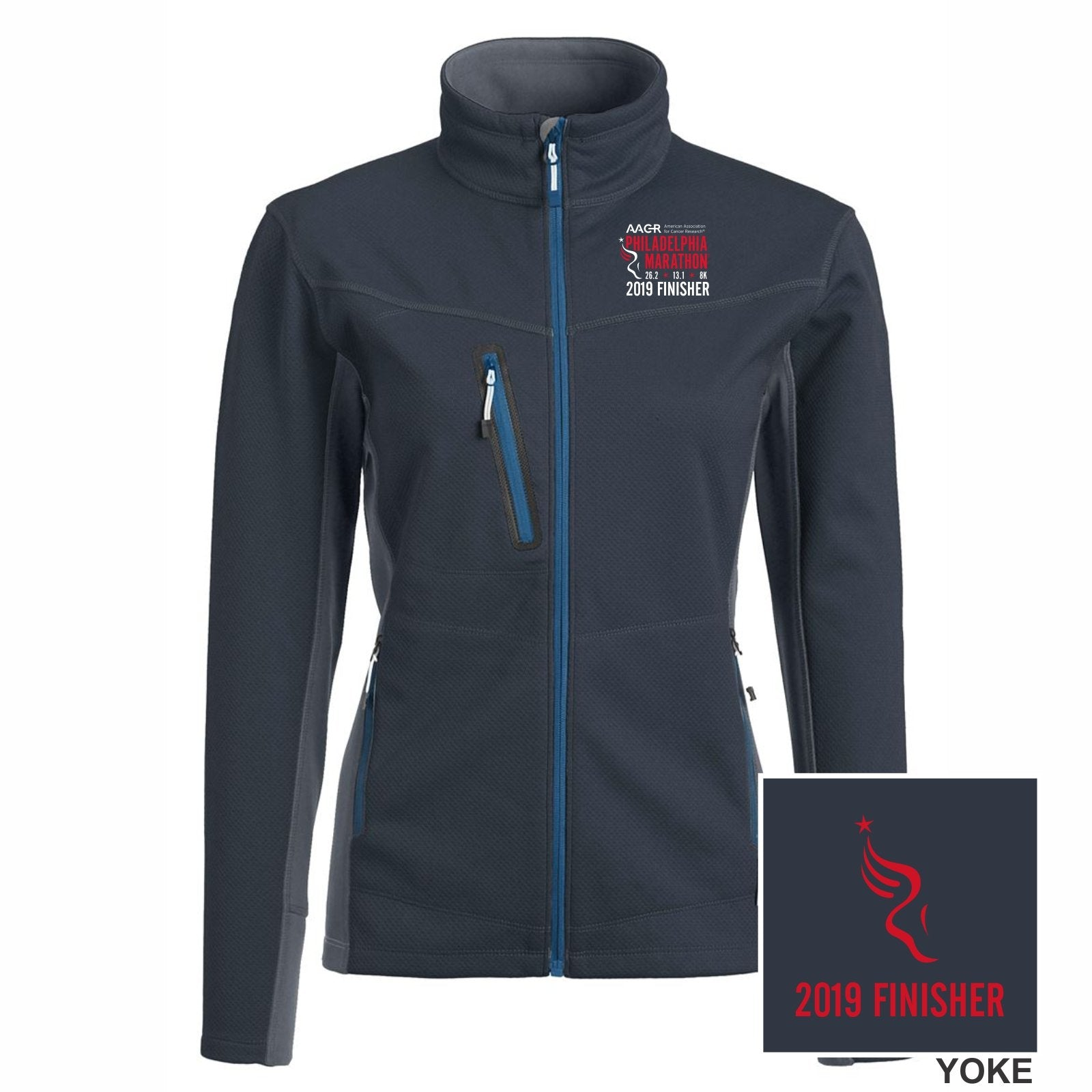 Women's 'Phantom' Tech Zip Jacket -Midnight Navy 'Finisher 2019 Embr. Design' - AACR Philadelphia Marathon