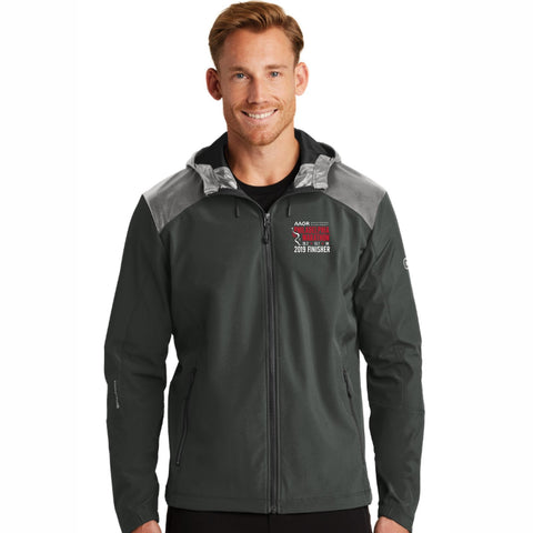 Men's Hooded Soft-Shell Full Zip Jacket -Blacktop 'Finisher 2019 Embr. Design' - AACR Philadelphia Marathon