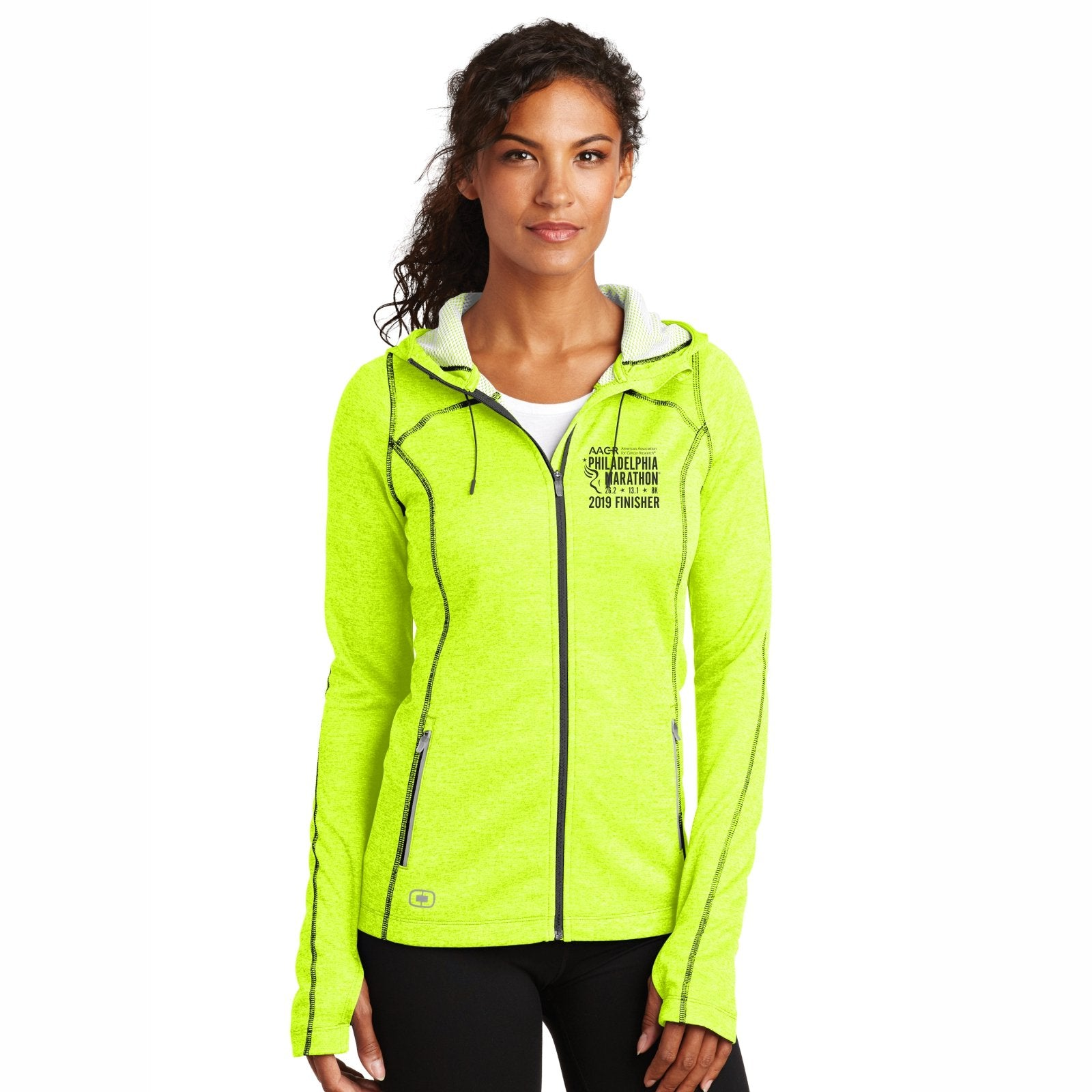 Women's Hooded Heathered Fleece Full Zip Jacket -Pace Yellow 'Finisher 2019 Embr. Design' - AACR Philadelphia Marathon