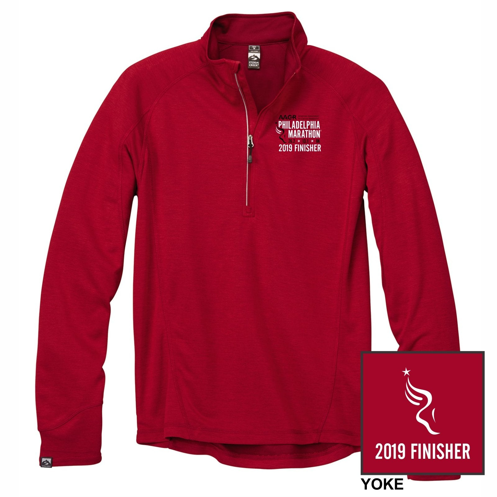 Men's Bamboo 1/4 Zip -Brick 'Finisher 2019 Embr. Design' - AACR Philadelphia Marathon