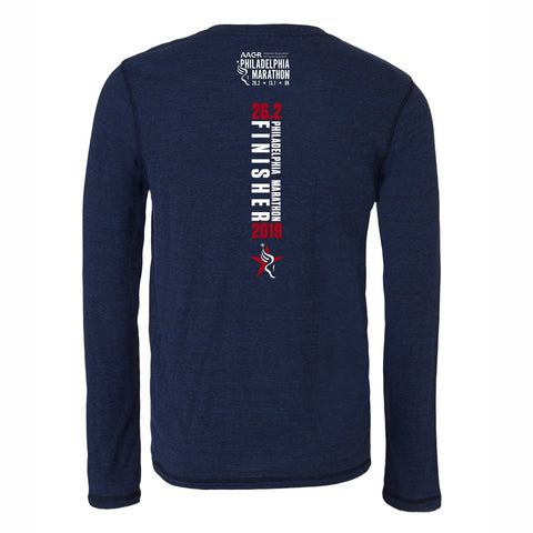 Men's 'Finisher 2019' LS Triblend Tee -Navy Heather - AACR Philadelphia Marathon