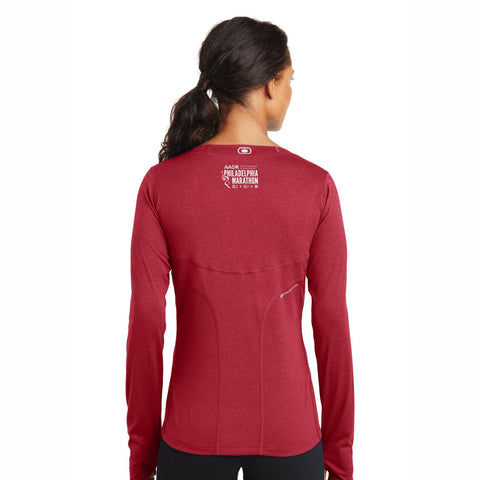 Women's 'Finisher 2019' LS Thumbhole Tech Tee -Ripped Red - AACR Philadelphia Marathon