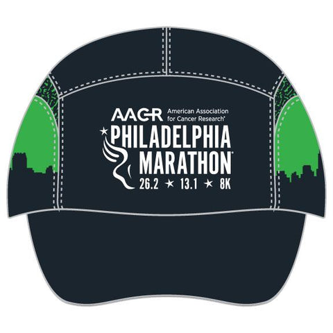 Tri Tech Cap -Black / Green Accents 'AACR Skyline Design' - AACR Philadelphia Marathon
