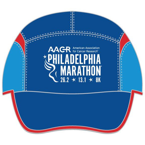 Tri Tech Cap -Blue / Red Gussets 'AACR Map Design' - AACR Philadelphia Marathon